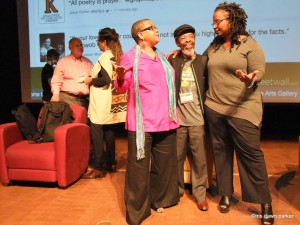 Lisa Brock, Willie Kgositsile, and Denise Miller in group photo