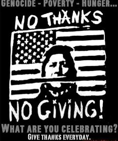 """illustrated US flag with stripe that covers the mouth of a woman. Text reads, """"No thanks, no giving!"""" of"""