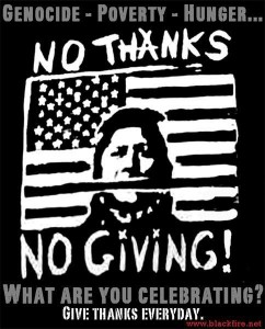 "illustrated US flag with stripe that covers the mouth of a woman. Text reads, ""No thanks, no giving!"" of"