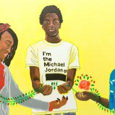 Mural in Jeremiah Burke High School, Dorchester, MA in collaboration with J. Burke High School students and Kalamu Kieta