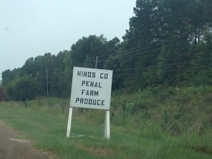 """sign on the side of the road that reads, """"Hinds Co Penal farm produce."""""""