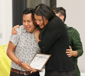 Jorge Gutierrez ,Jennicet Gutierrez, and Marcos Nieves of Famillia: Queer Trans Liberation Movement recieving the 2015 Global Prize. Photo credit: John Lacko