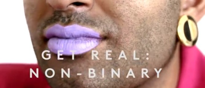"""part of Alok Vaid-Menon's face wearing bright lipstick and earrings. Text says, """"Get Real, non-binary."""""""