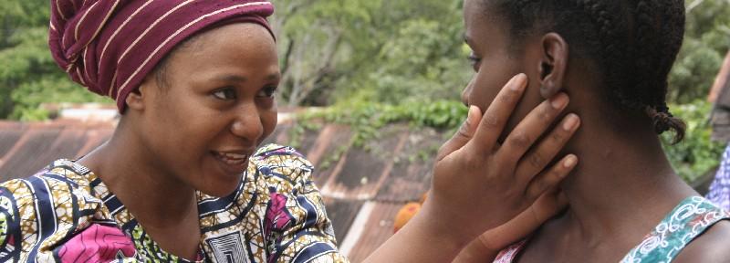 Scene of film where Funmi's mother smiles at her.