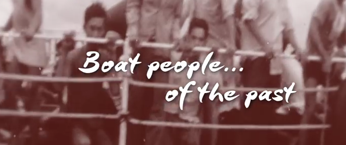 """faded old photography with text that reads, """"Boat people...of the past."""""""