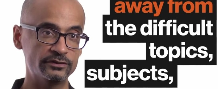 """Junot Diaz and text that reads, """"Away from the difficult topics, subjects,"""""""