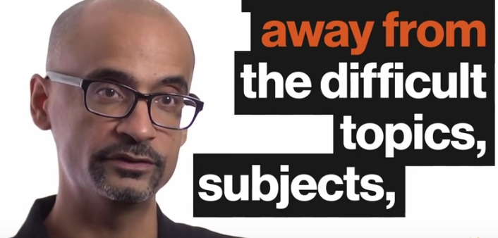 "Junot Diaz and text that reads, ""Away from the difficult topics, subjects,"""