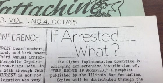 "Mattachine Midwest Newspaper with text saying, ""If Arrested...What?"""