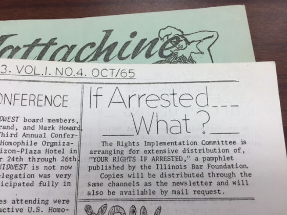 """Mattachine Midwest Newspaper with text saying, """"If Arrested...What?"""""""