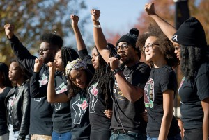 Concerned Student 1950 members protest at Mizzou. Photo credit: Daniel Brenner / The New York Times