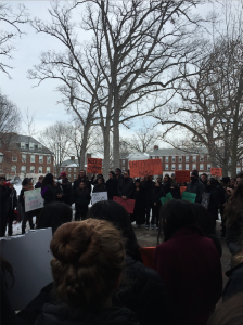 Kalamazoo College students protesting for an Intercultural Center.