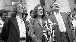 Former Weather Underground member Bernardine Dohrn speaks to members of the press outside Federal Court in New York, May 18, 1982. Dohrn, being questioned about the Brink''s robbery in Nyack, New York in October 1981, has refused to give a sample of her handwriting to a grand jury. Also present are Dohrn''s friend Bill Ayers, left, and attorney Michael Kennedy. (AP Photo/David Handschuh)