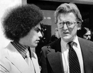 Michael J. Kennedy, right, outside the Alameda County Courthouse in California with a client, the Black Panther leader Huey P. Newton, in 1978. Credit United Press International