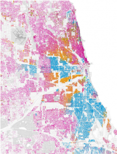 Map of ethnic/racial segregation of Chicago. Image from Radical Cartography.