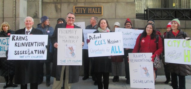 Teachers protesting in front of city hall