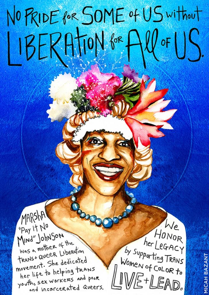 Multi-colored poster of Marsha P. Johnson
