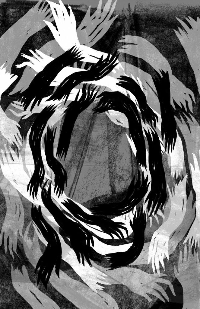 Black, white, and grey print