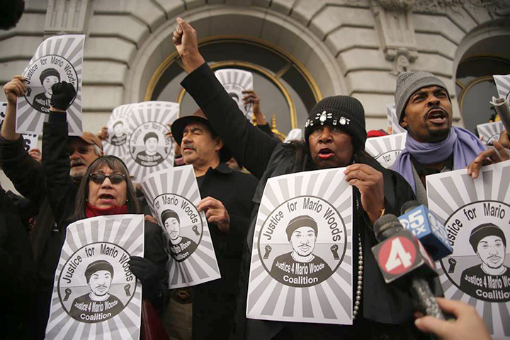 Mayor Ed Lee Inauguration Disruption 2016 The Justice For Mario Woods Coalition disrupting the inauguration of Mayor Ed Lee demanding justice for the fatal shooting of Mario Woods on December 2, 2015.