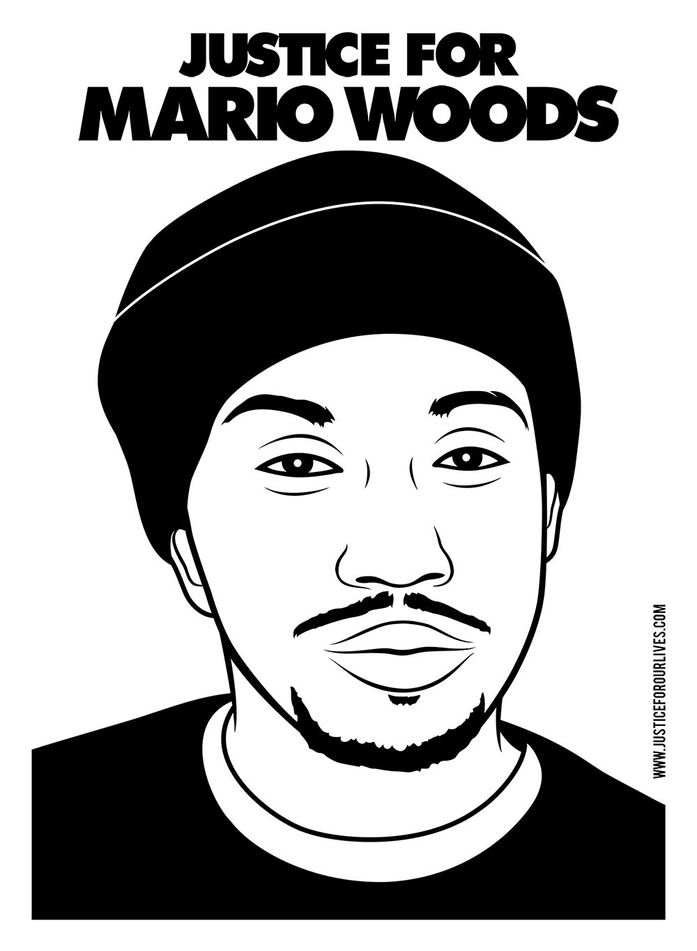 Justice for Mario Woods. Digital Design. 2015. Mario Woods was shot and killed by a SFPD firing squad after he allegedly stabbed another man.
