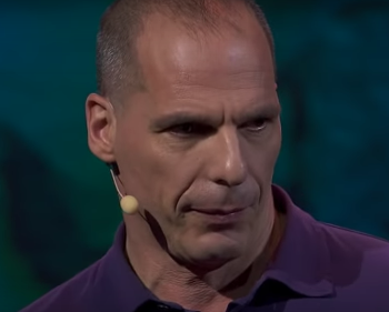 close up of Yanis Varoufakis