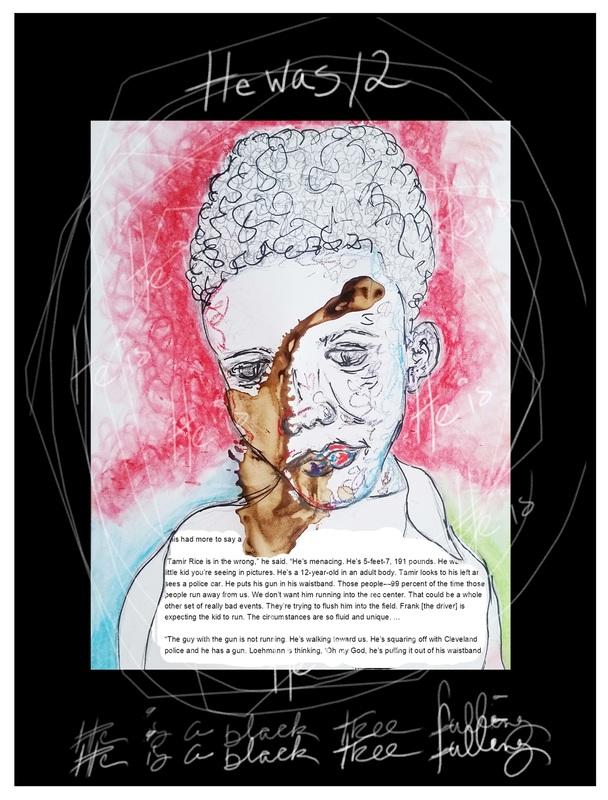 "Portrait, fine & mixed media art: acrylic, sharpie & oil pastels, ""He Was 12"""