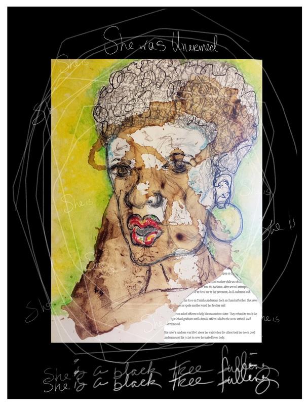 """Portrait, fine & mixed media art: acrylic, sharpie & oil pastels, """"she was unarmed"""""""