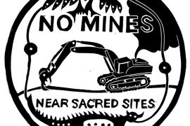 "Dylan Miner art - ""no mines near sacred sites"""