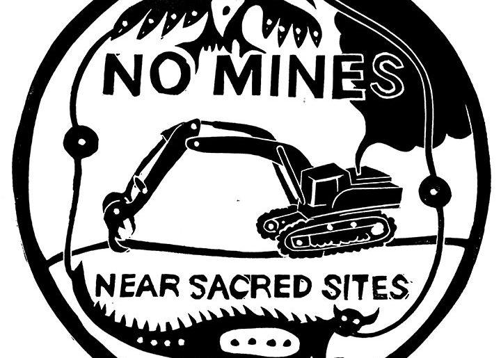 "Dylan Miner art - ""no mines near sacred sites"""
