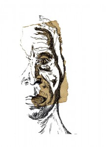 a sketch of the left portion of an african american males face
