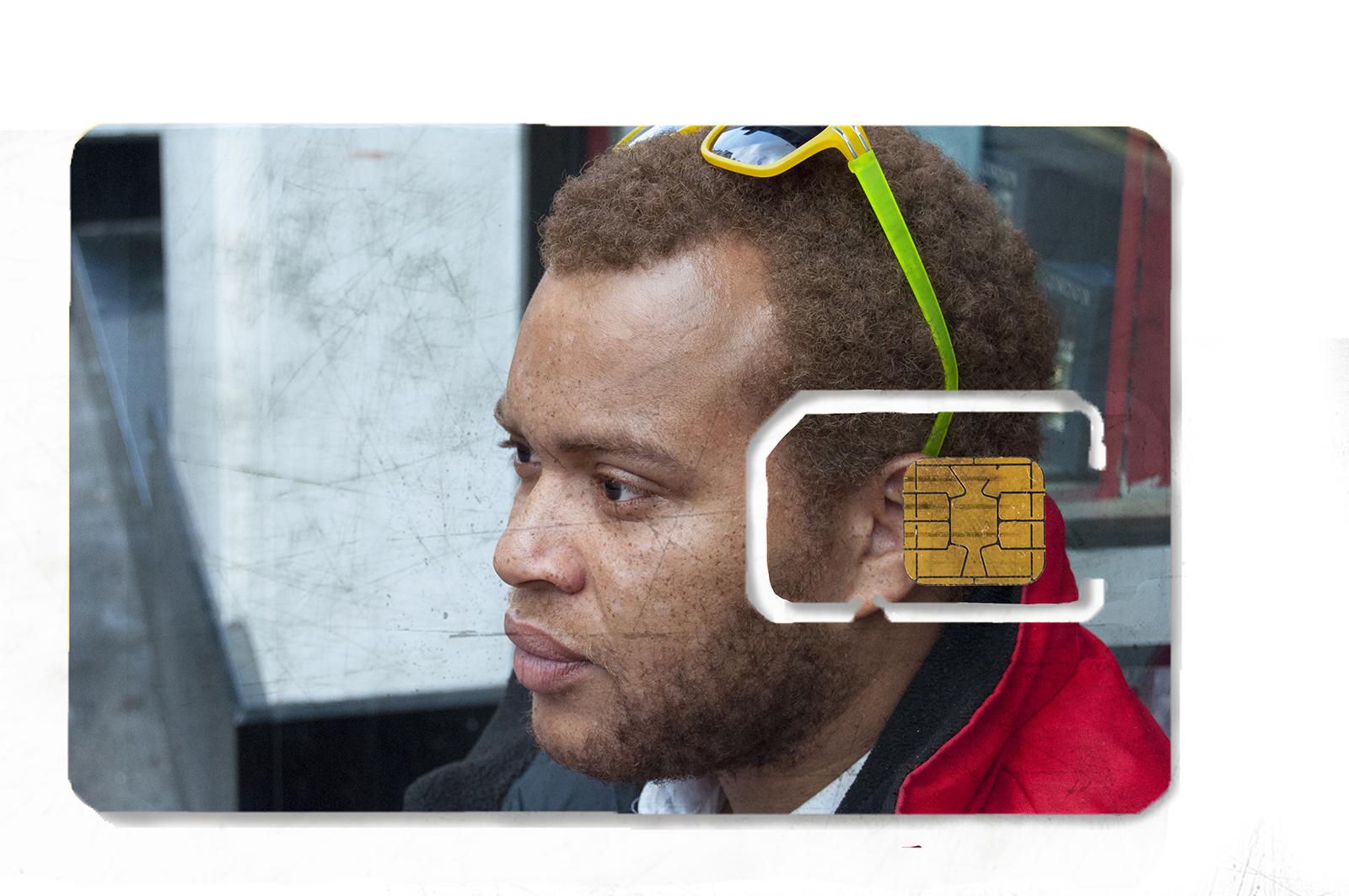 Photograph printed on sim card