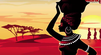 Illustration fo Kenyan woman, with basket on head again sunset background.