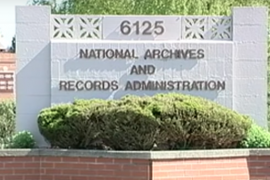 sign for National Archives and Records Administration building