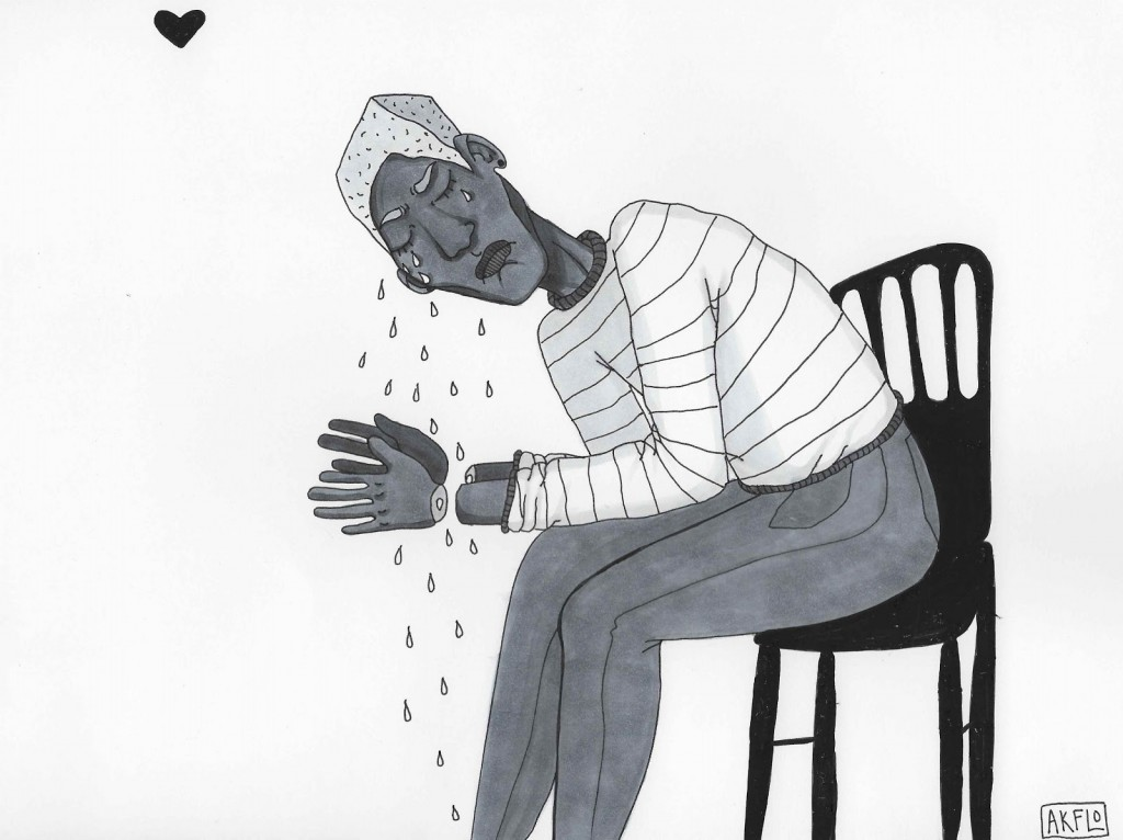 marker and pen drawing of a black boy crying with his hands cut off