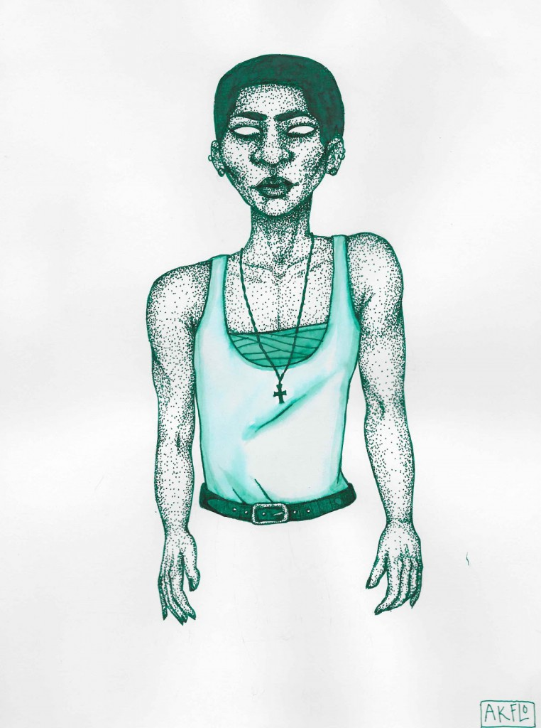 green pen drawing is a stippled figure of a trans latinx kid.