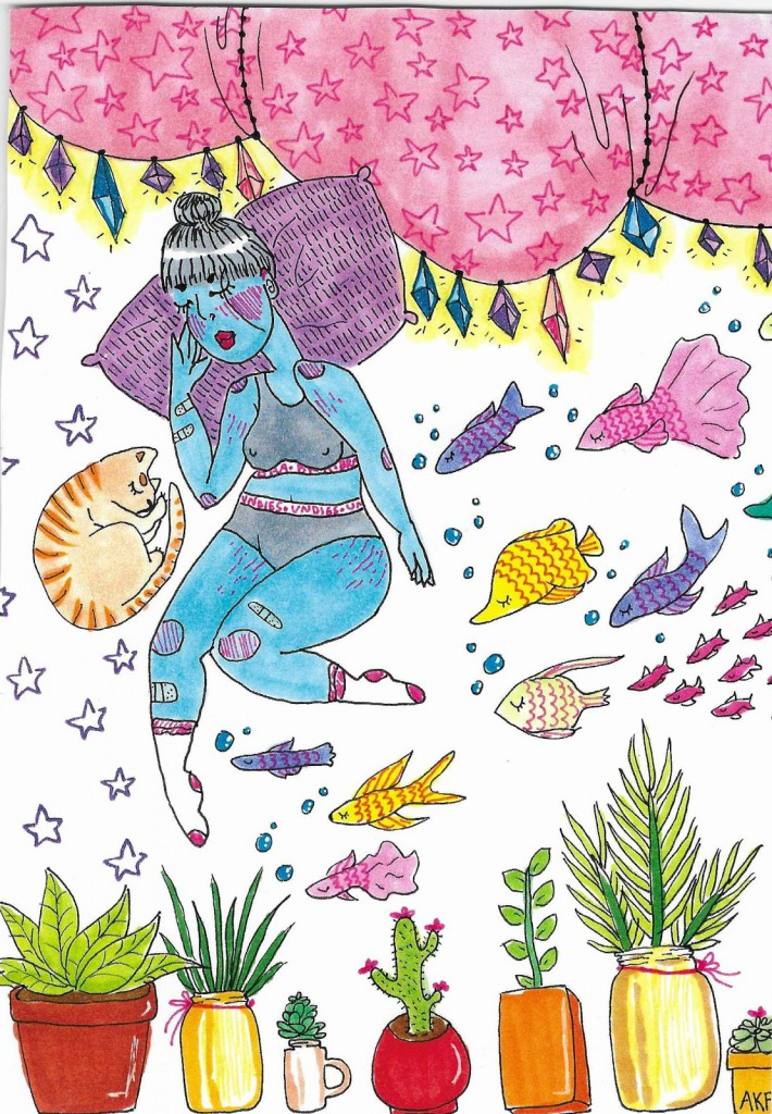 Colorful pen and marker drawing of a sleeping soft lady with fish and plants and a cat.
