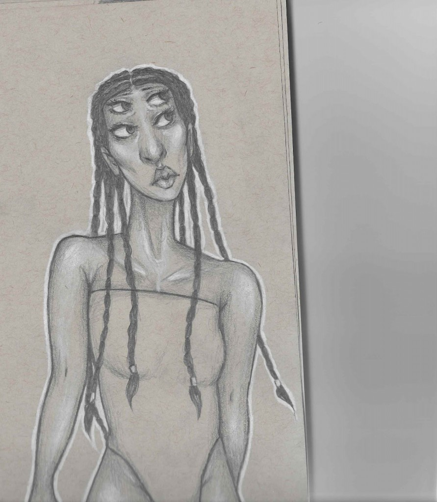 Pencil sketch of a magical alien trans girl with braids