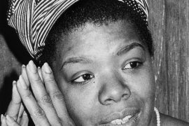 Maya Angelou in black in white