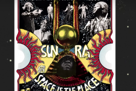 Sun Ra Album cover featuring a black Egyptian God positioned between two suns