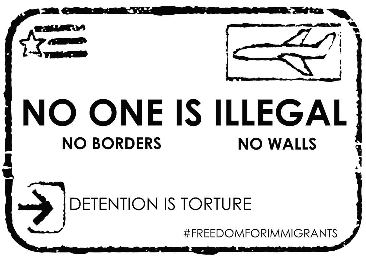"postcard with words ""No one is illegal,no borders, no walls"""