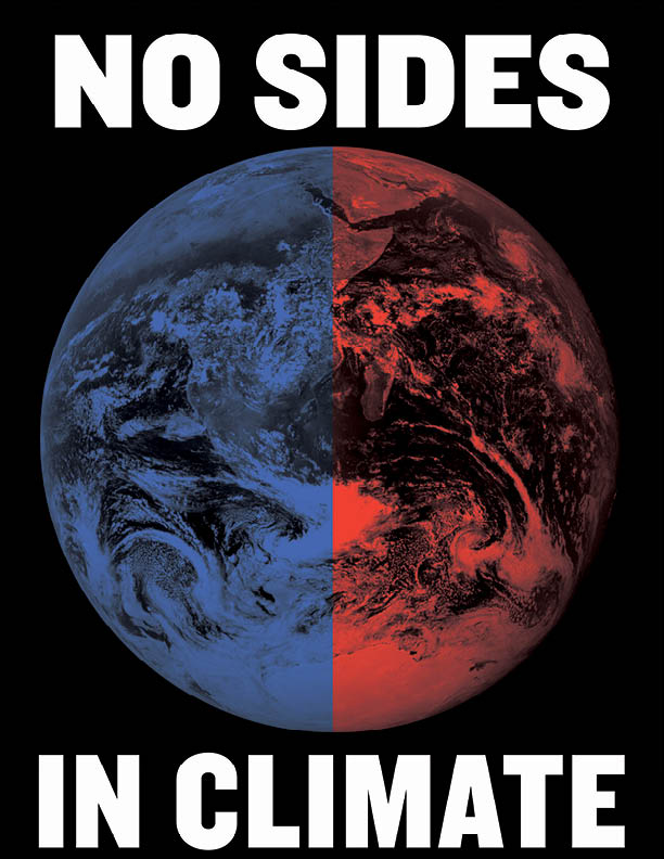 Graphic of the earth with one half colored blue, one half colored red, caption: No Sides in Climate