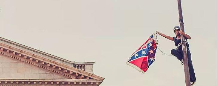 Bree Newsome taking down a confederate flag in South Carolina