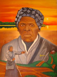 """Painting """"She Points the Way"""" by Zolo Azania, Harriet Tubman pointing and overlooking the landscape"""
