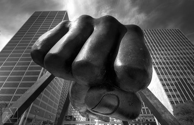 """Large sculpture of a fist, """"Joe Louis Fist"""" by Kyle J. Schultz"""