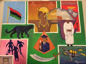 Painting by Zolo Azania, painted image of a Black Panther, the continent of Africa, a black person in a graduation gown.