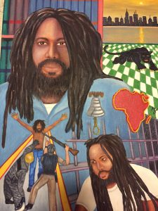 """""""All Things Considered"""" painting by Zolo Azania, three black men with dreadlocks accompanied by images of police attacks, Africa, a black panther, the Liberty Bell, and a cityscape"""