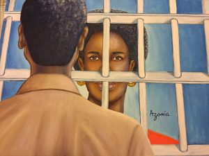 Painting by Zolo Azania, two people looking at each other through prison bars