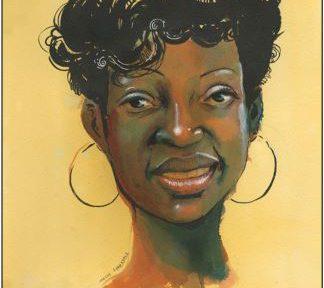 Painting of Marissa Alexander, Free Marissa written below
