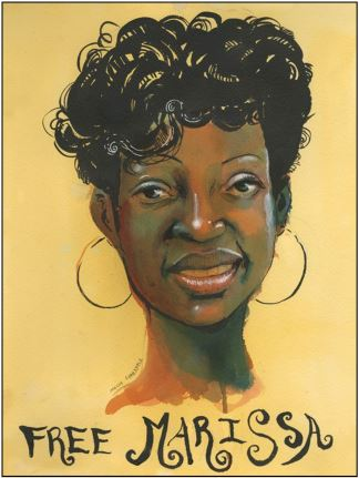 Painting of Marissa Alexander, Free Marissa written below