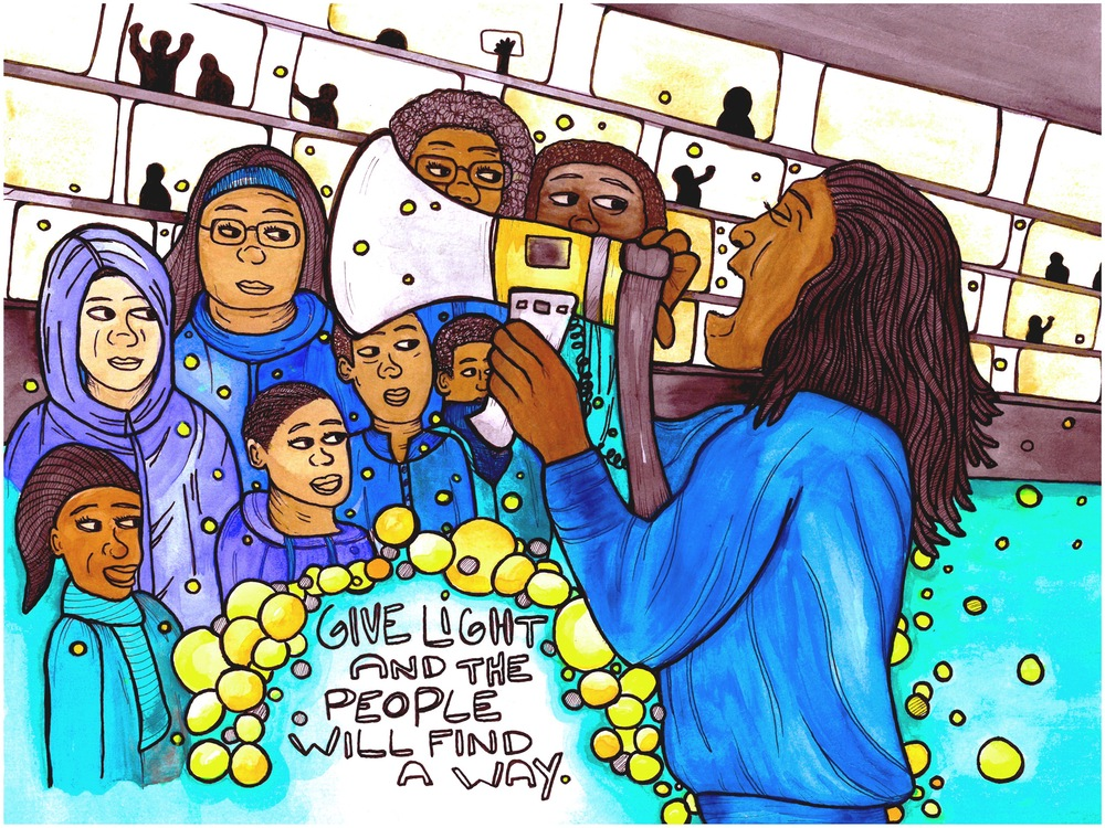 """Mixed media image of POC organizer with a megaphone with words """"Give Light and People will Find A Way"""""""