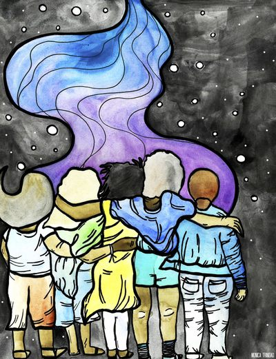 Mixed media image of five figures embracing looking out into artistic representation of space and a nebula